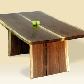 Rustic Walnut & Sapwood Two Board Live Edge Table