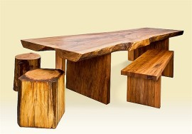 Strawn Rustic Wood Table and Tree Stump Stools
