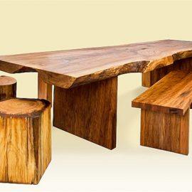 Strawn Rustic Wood Table and Tree Stump Stools