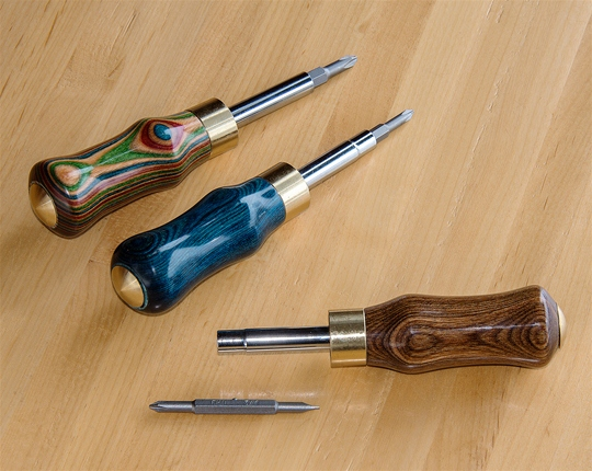 Turned Wood Four Way Screwdriver - Sawbridge Studios