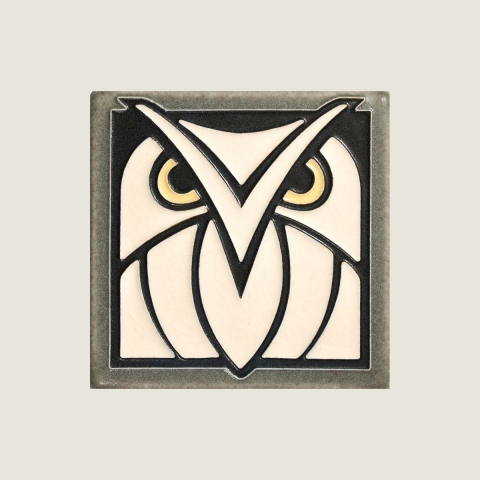 Gray White Owl Tile