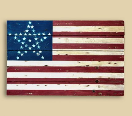 Reclaimed Barn Wood Lincoln Funeral Train Flag