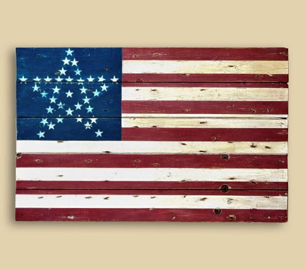 Reclaimed Barn Wood Lincoln Funeral Train Flag