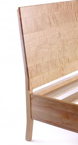 Sawbridge Studios Barstow Bed Platform in Tiger Maple Headboard Detail