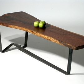 Walnut & Steel Live Edge Coffee Table
