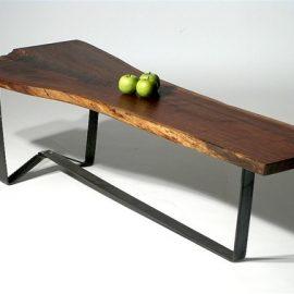 Walnut & Steel Live Edge Coffee Table