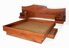 Cherry Slab Bed and Night Tables