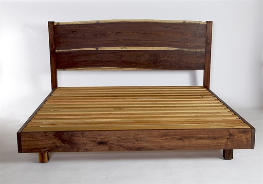 Walnut Double live Edge Board Bed