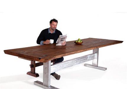 Live Edge Oak & Steel Table