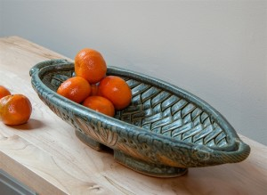 Long Woven Sage Bowl above view