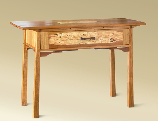 Cherry & Locust Burl One Drawer Console