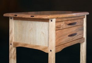 Cherry Two Drawer Side Table side view