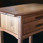 Walnut Two Drawer Side Table side view