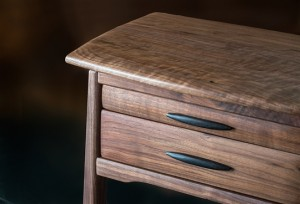 Walnut Two Drawer Side Table detail