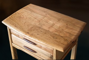 Cherry Two Drawer Side Table above view