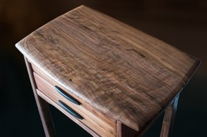Walnut Two Drawer Side Table above view