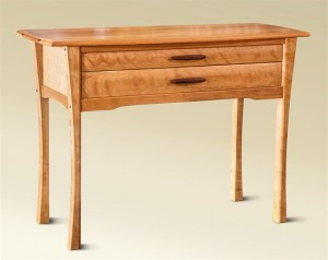 Two Drawer Cherry Console side view
