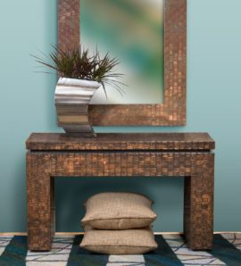 Woven Copper Console Table and Mirror Set