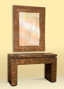 Woven Metal Table and Mirror