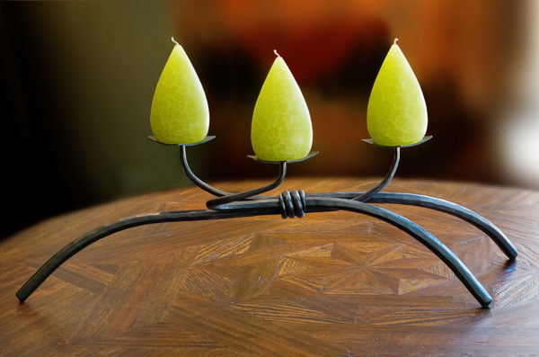Low Iron Wrought Iron Candleholder for three pillar candles