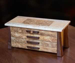 Black Walnut-Tiger Maple-Elm Burl Jewelry Box