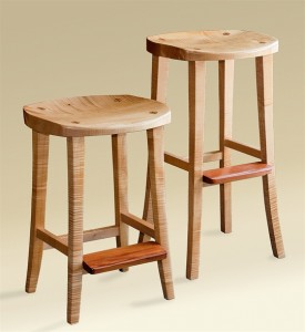 Carved Bar Stool with Footrest