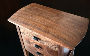 Black Walnut Three Drawer Tall Table