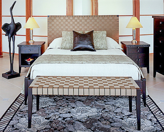 Sawbridge Studios River Woven Bed and Bench Taupe Weave