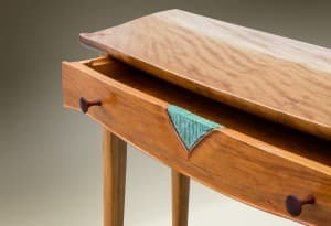 Sculpted Console with Ceramic Inlay Drawer Detail