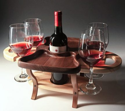 Wine Caddy 1 bottle 4 glasses