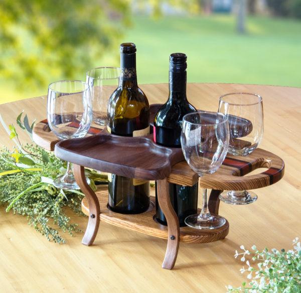 Wine Caddy 2 bottles & 4 glasses