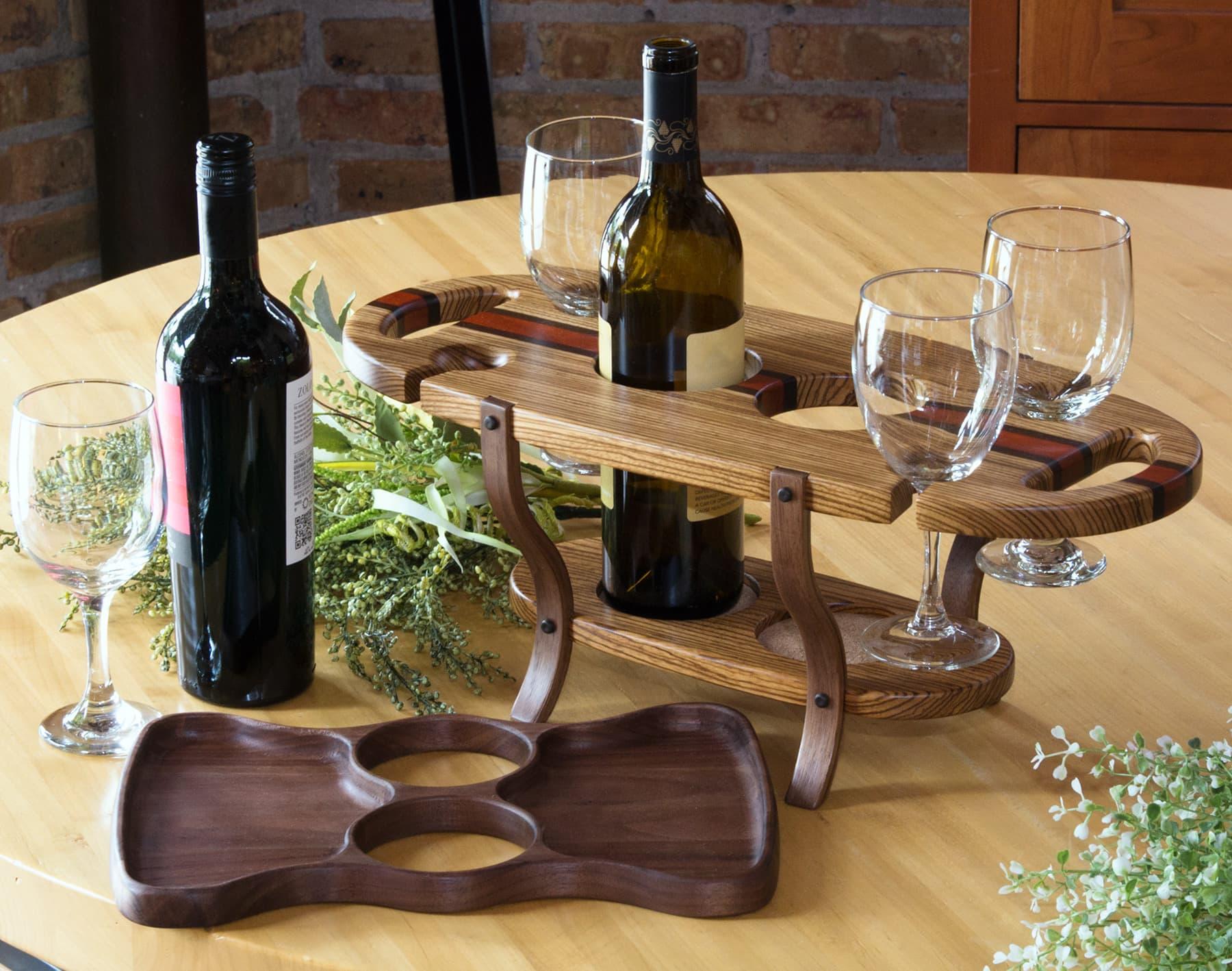 Wine Caddy Holds Two Bottles Amp Four Glasses Sawbridge