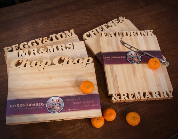 Cutting Boards with Carved Words