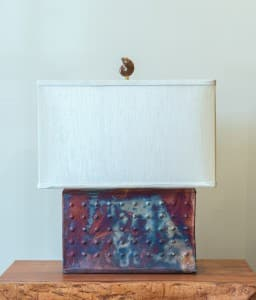 Rectangle Raku Lamp Unlit