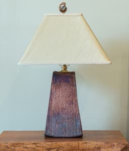 Tall Trapezoid Raku Lamp Unlit