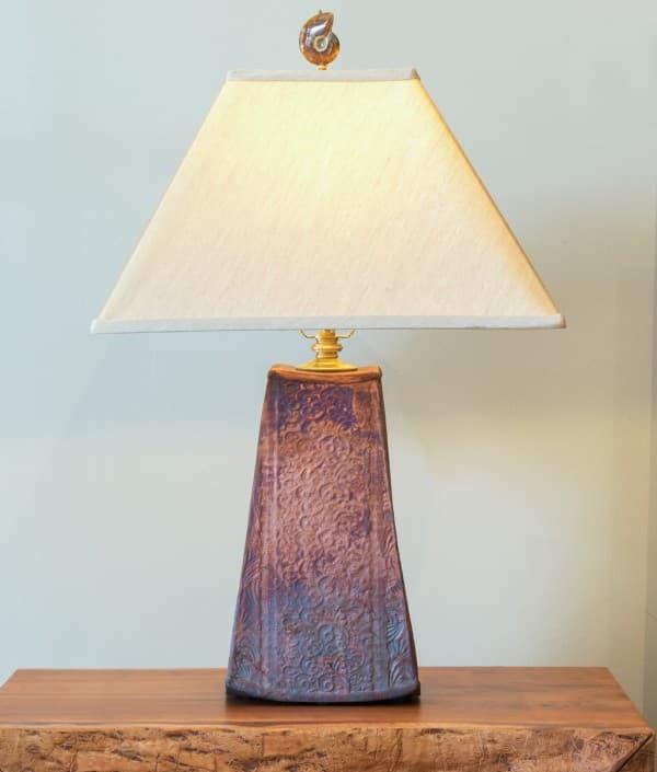 Tall Trapezoid Raku Lamp