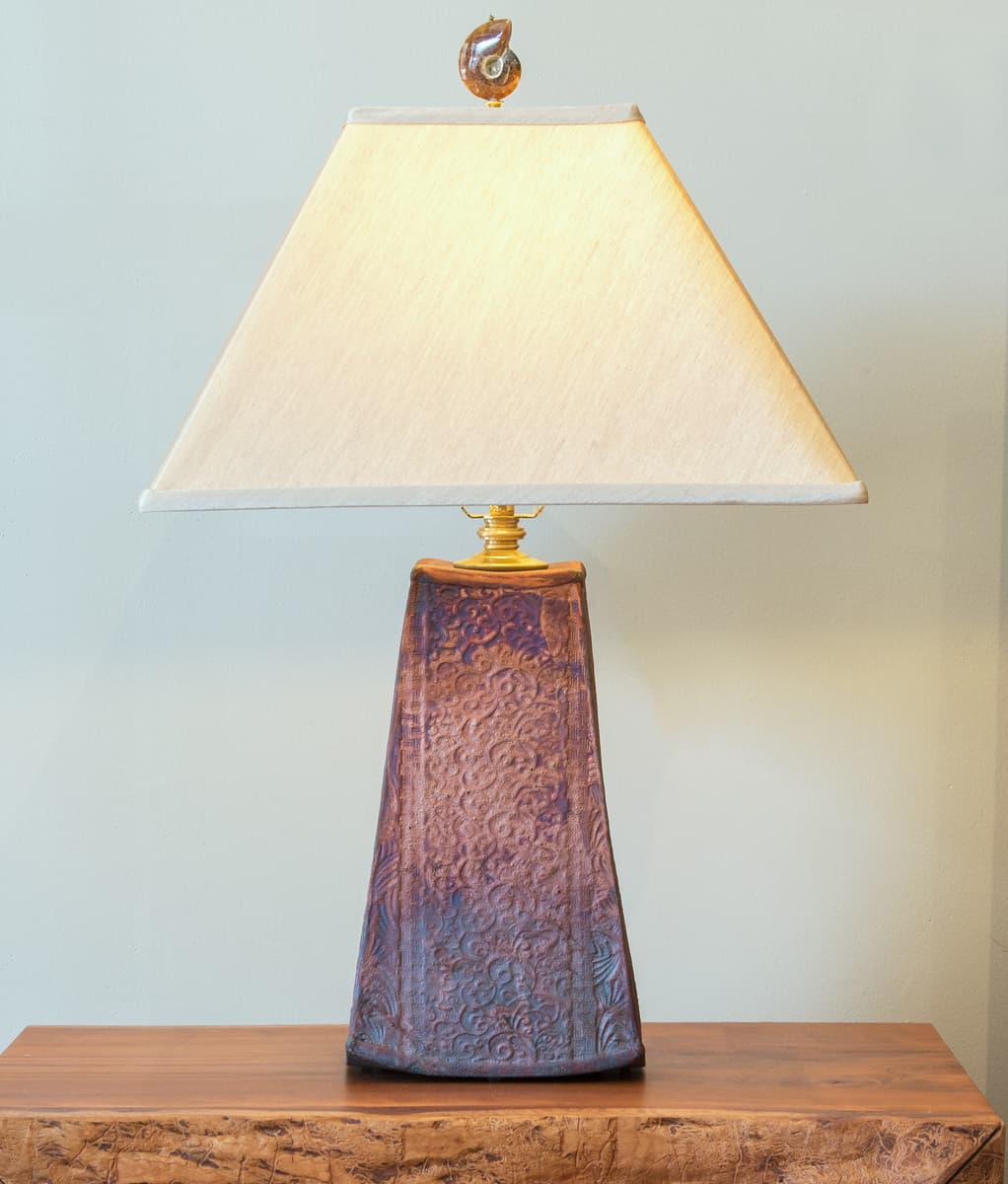 Tall Trapezoid Raku Lamp