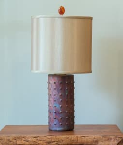Tall Cylinder Raku Lamp Unlit