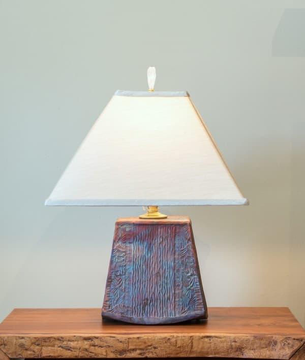 Short Trapezoid Raku Lamp