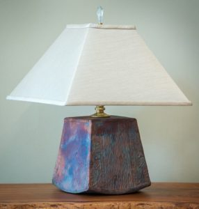 Short Trapezoid Raku Lamp