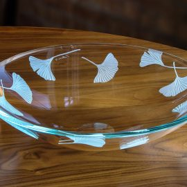 Etched Ginkgo Low Bowl