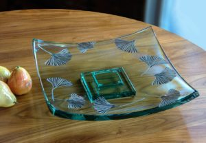 Etched Ginkgo Platter above view