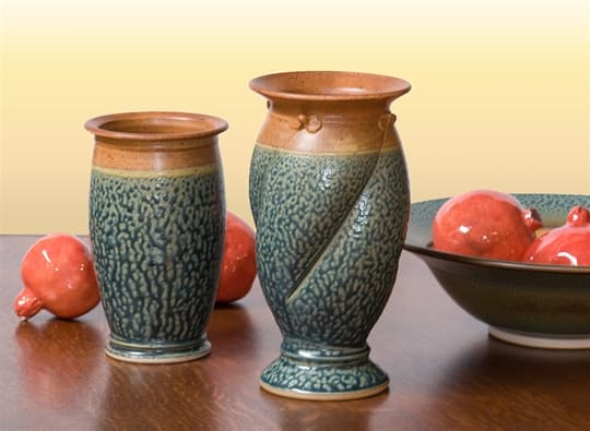 Yoders Vessles Utensil Jar And Spiral Vase Sawbridge Studios