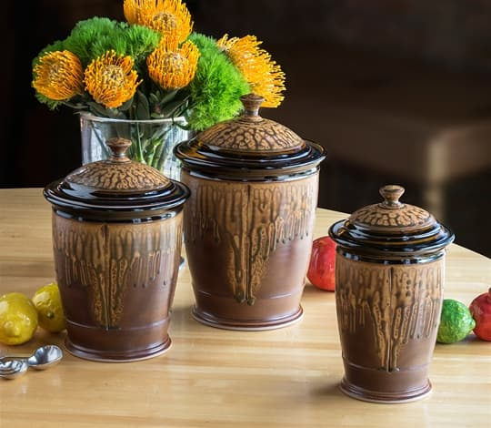 Canister Set in Black-Brown & Ash Glaze