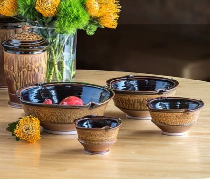 Nesting Bowls in Black-Brown & Ash Glaze