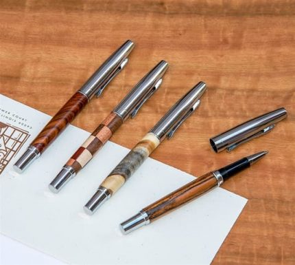 Chrome and Wood Pens