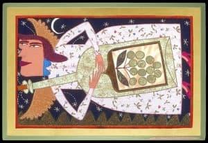 Wine Angel Fabric Painting