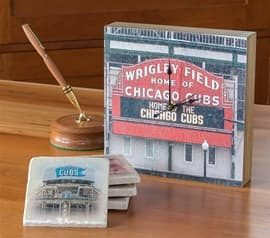 Chicago Cubs Clock & Coasters