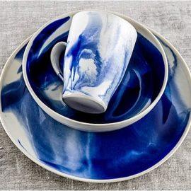 Marble Indigo Dinnerware 3 piece
