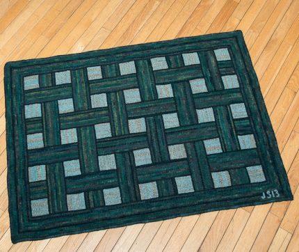 Green Hooked Basketweave Rug